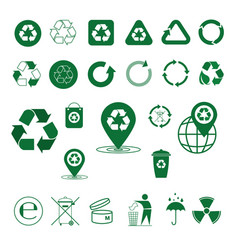 recycle waste symbol green arrows logo set web vector image vector image