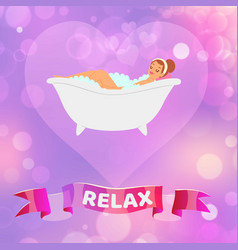 relax woman beautiful young brunette girl having vector image