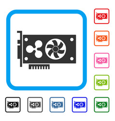 Ripple video gpu card framed icon vector