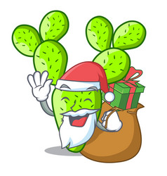 Santa with gift cartoon the prickly pear opuntia vector