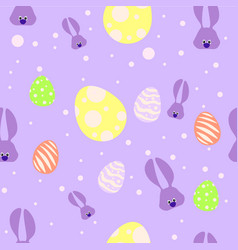 seamless easter pattern with violet rabbits and vector image