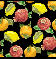 Seamless pattern with juicy summer fruits like vector