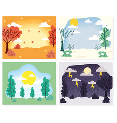 Seasons scenes weathers set collections vector