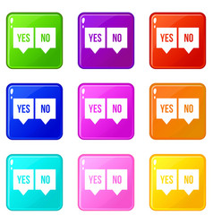 Signs of yes and no icons 9 set vector