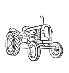 Sketch of old tractor vector