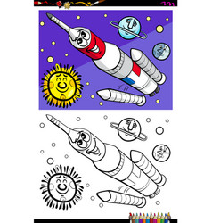 space rocket character coloring book vector image