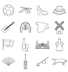 Spain travel icons set outline style vector
