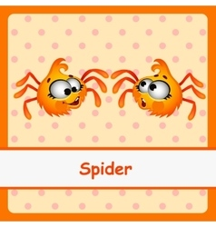 Spider funny characters on a orange background vector