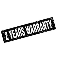Square grunge black 2 years warranty stamp vector