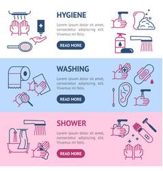 symbol of higiene banner horizontal set thin line vector image