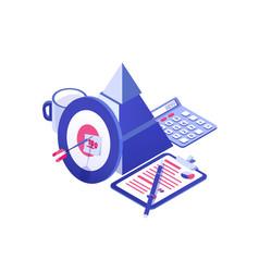 Target and arrow pyramid paper document mug vector