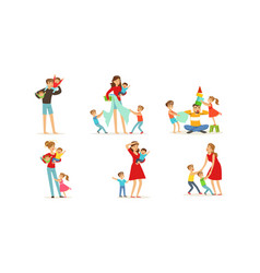 tired young parents exhausted with nursing little vector image