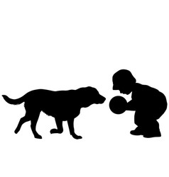 Toddler playing with a dog vector