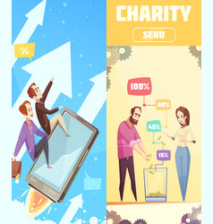Two flat vertical banners on crowdfunding theme vector
