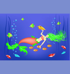underwater world little mermaid fishes vector image