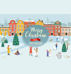 Winter christmas cityscape with active people vector