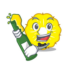 with beer pineapple slice isolated on mascot vector image