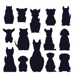 cartoon dog breed isolated silhouette vector image