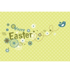 Easter greeting card with cute little bird vector image