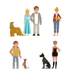 man and woman with dog vector image vector image