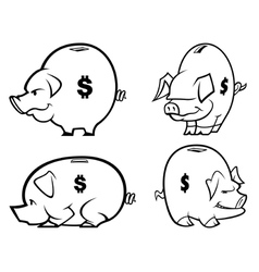 piggy bank s one color vector image vector image
