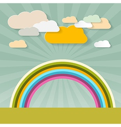 Rainbow and Clouds on Retro Background vector image vector image