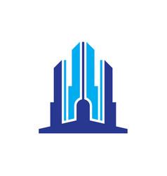skyscraper building business logo vector image vector image