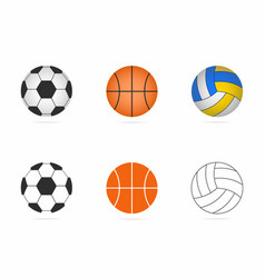 soccer basketball and volleyball balls set vector image vector image