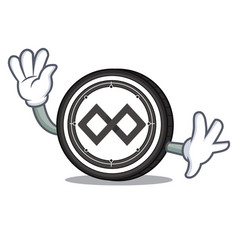 waving tenx coin character cartoon vector image vector image