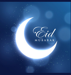 glowing crescent moon for eid festival in blue vector image vector image