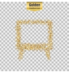 Gold glitter icon of tv screen isolated on vector