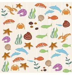 Seamless ocean life pattern vector image vector image