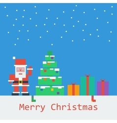 Merry Christmas poster Flat pixel art vector image
