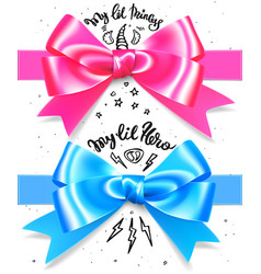 babyboy and babygirl shiny gift bow blue and pink vector image