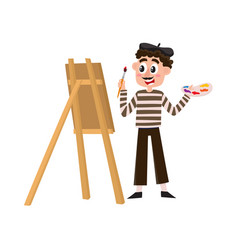 french painter artist in striped shirt and beret vector image