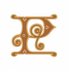 golden letter p vector image
