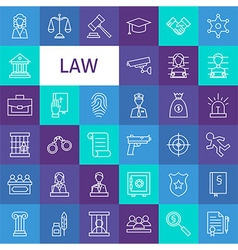 Line art law and justice icons set vector