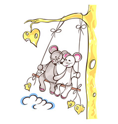 mice lovely girl and boy swing on swing swing vector image