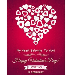 Red valentines day greeting card with white heart vector image