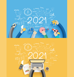 2021 new year business success creative drawing vector image