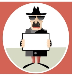 Abstract of spy holding paper sheet vector