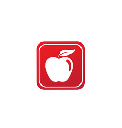 Apple with green leaf logo design in shape vector
