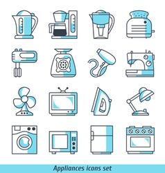 Appliances icons set blue color vector