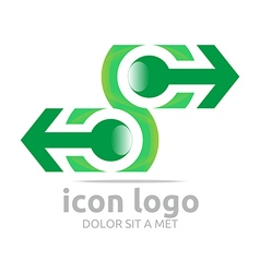 Arrow letter c green design symbol vector