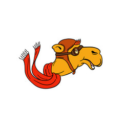 Aviator camel goggles scarf cartoon vector