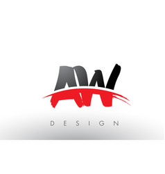 Aw a w brush logo letters with red and black vector