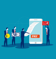 bill payment business people and mobile payment vector image