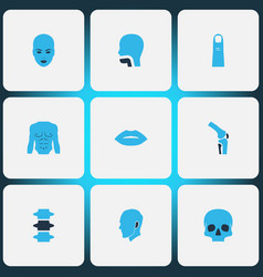 body icons colored set with spine joint lips and vector image