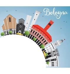 Bologna Skyline with Landmarks Blue Sky vector image
