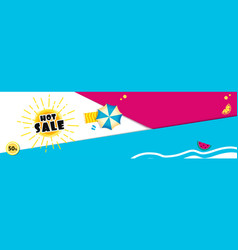 bright sale banner template design with summer sun vector image